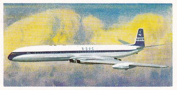 Trade Card Brooke Bond Transport Through the Ages No 42 First Turbojet Airliner