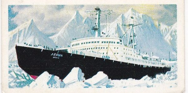 Trade Card Brooke Bond Transport Through the Ages No 48 Nuclear Ship