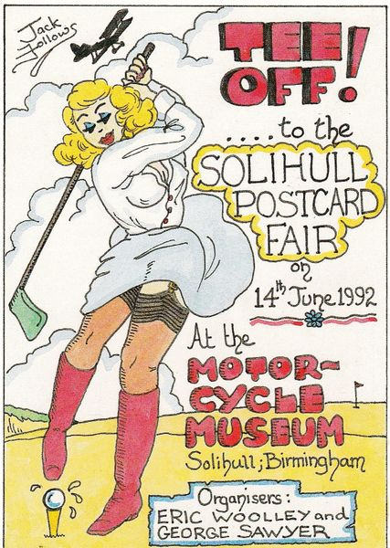 Post Card TEE OFF to the Solihull Postcard Fair 1992