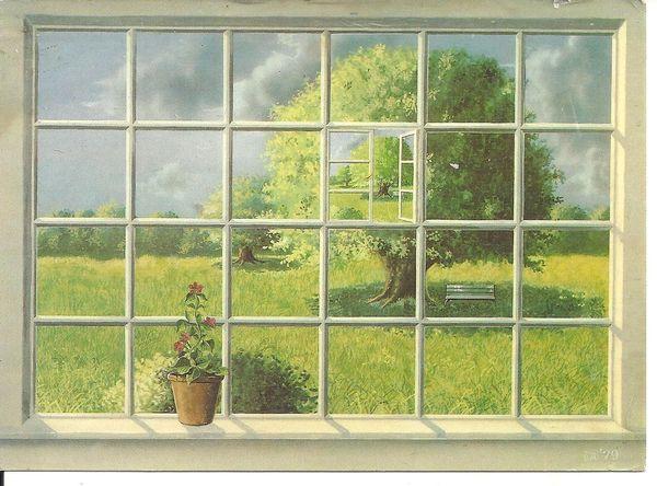 postcard THE WINDOW by Bjoern Richter Danish Artist