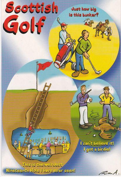postcard comic SCOTTISH GOLF unposted