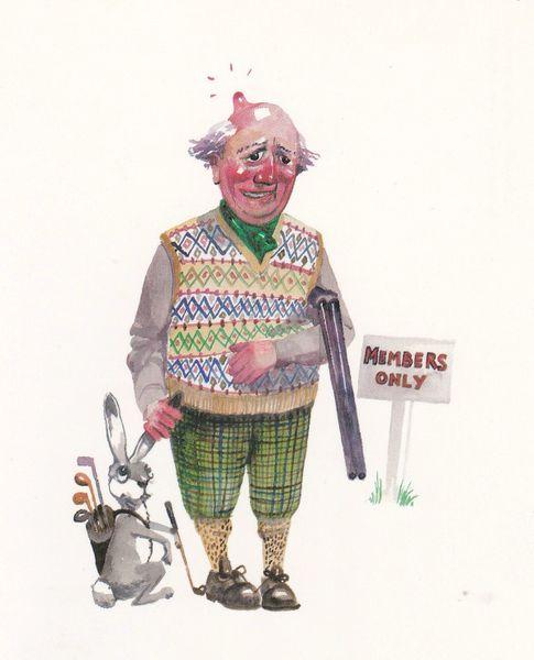 Postcard comic FORE! Lincolnshire Poacher Series No. 5 unposted