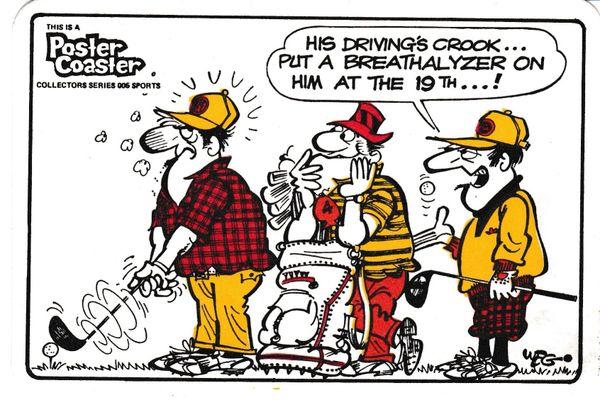 Poster Coaster collectors series 006 - Golf themed cartoon