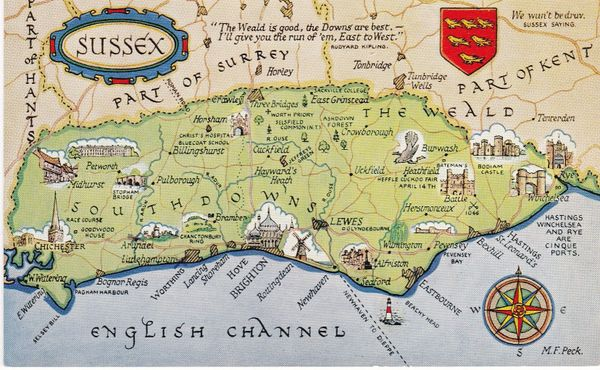 postcard map of SUSSEX Salmon written not posted