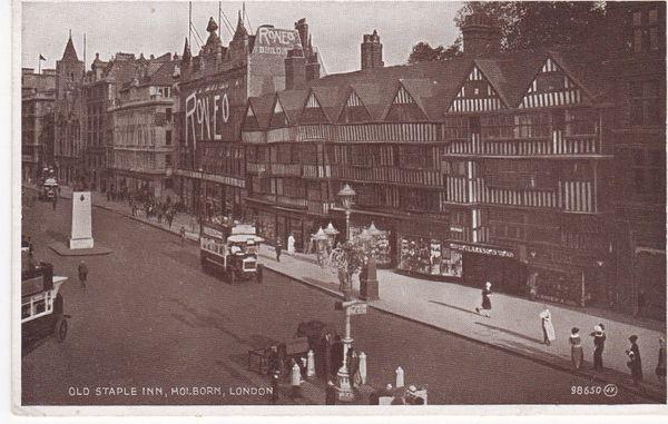 postcard LONDON HOLBORN OLD STAPLE INN Valentine's 98650 unused