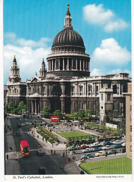 postcard ST. PAUL'S CATHEDRAL, LONDON John Hinde 1L37 posted c1970