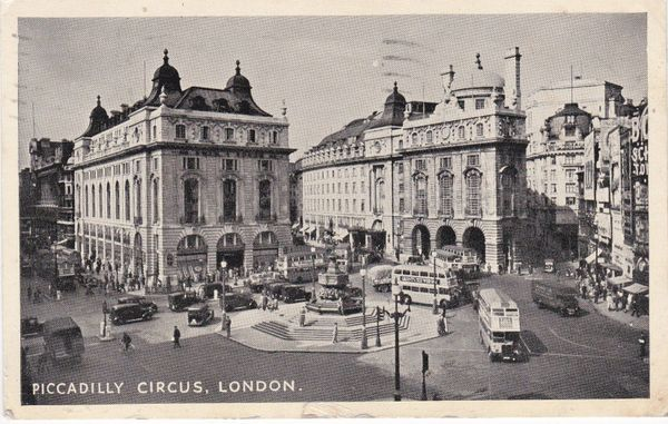 PICCADILLY CIRCUS, LONDON Photographic Greeting Card Co. used 1959