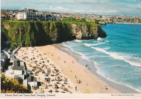 postcard Cornwall Newquay TOLCARNE BEACH AND TOWAN HEAD John Hinde 1982