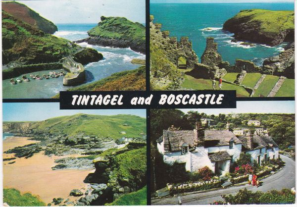 postcard Cornwall TINTAGEL and BOSCASTLE four views John Hinde 2DC701 Used 1991
