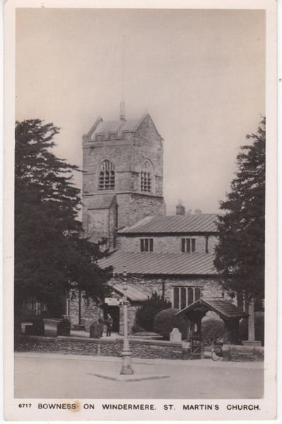 Post Card Cumbria Bowness on Windermere St. Martin's Church