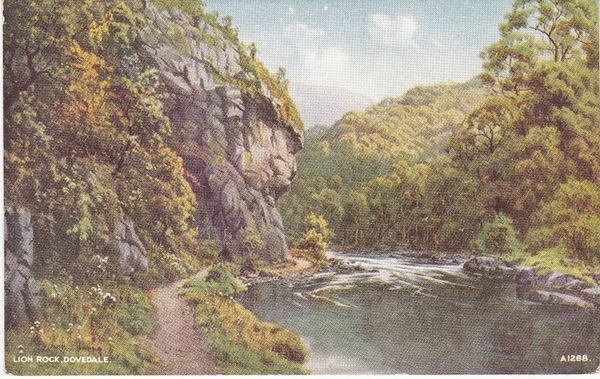 Post Card Derbyshire Dovedale LION ROCK Valentine's ART COLOUR A1268