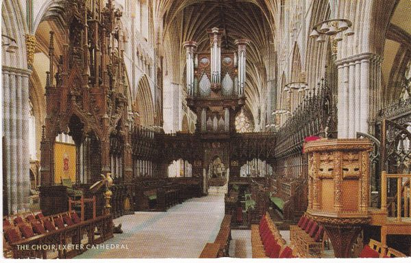 Post Card Devon Exeter Cathedral The Choir A SALMON Cameracolour Post Card 1-50-06-02/3900c