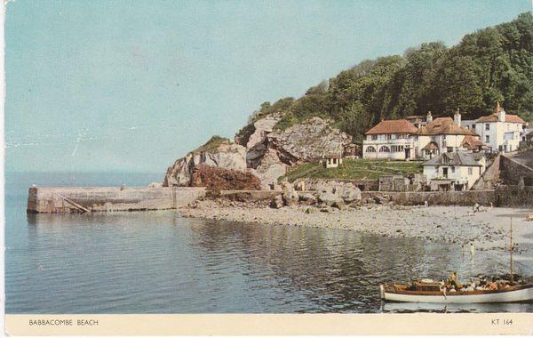 Post Card Devon BABBACOMBE BEACH Jarrold Cotman-Color KT 164
