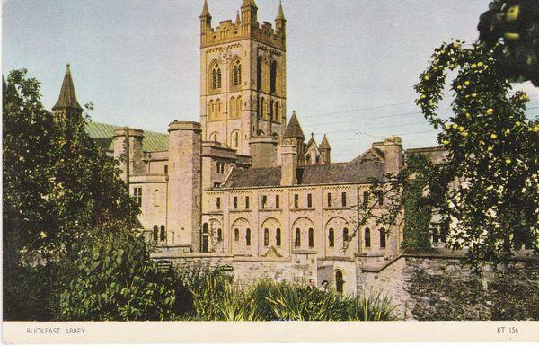 Post Card Devon BUCKFAST ABBEY Jarrold Cotman-Color KT 156