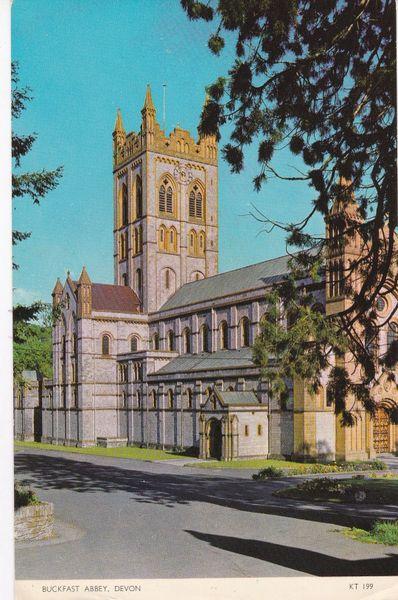 Post Card Devon BUCKFAST ABBEY Jarrold Cotman-Color KT 199