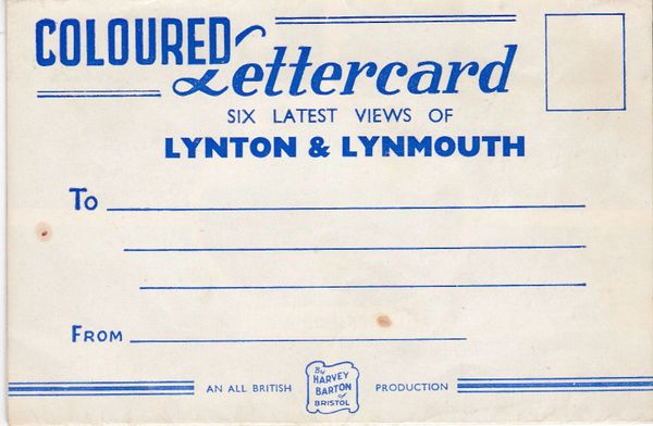 Coloured Lettercard Devon LYNTON & LYNMOUTH Harvey Barton