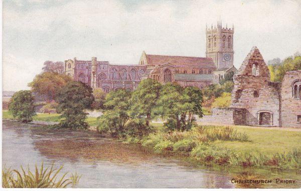 Postcard Dorset CHRISTCHURCH PRIORY Salmon Series