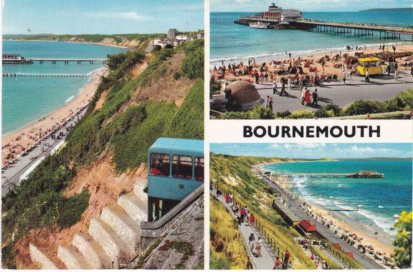 Postcard Dorset BOURNEMOUTH 3 views John Hinde 3BM92