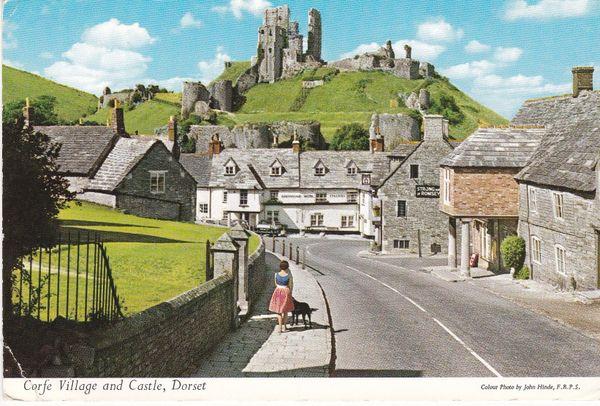 Postcard Dorset CORFE VILLAGE AND CASTLE John Hinde Limited 3BM20