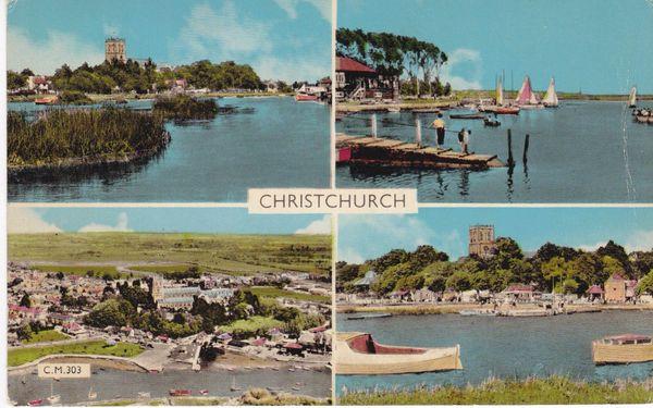 Postcard Dorset CHRISTCHURCH 4 views Dearden & Wade, Ltd. C.M.303