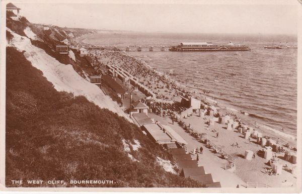 """Postcard Dorset BOURNEMOUTH The West Cliff Wade's """"Sunny South"""""""