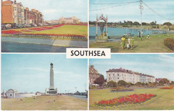 Post Card Hampshire SOUTHSEA 4 views PLC3077