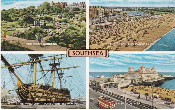 Post Card Hampshire SOUTHSEA 4 views Valentine's L3378