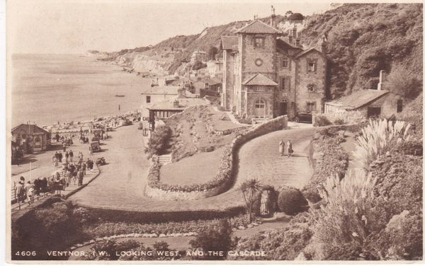Post Card Hampshire Isle of Wight VENTNOR Looking West and the Cascade J. Arthur Dixon 4606