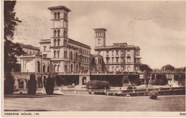 """Post Card Hampshire Isle of Wight EAST-COWES Osborne House E A. Sweetman """"Solograph"""" Series De-Luxe Photogravure"""