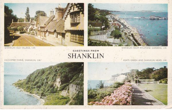 Post Card Hampshire Isle of Wight SHANKLIN Greetings from Nigh / Jarrold Cotman-Color