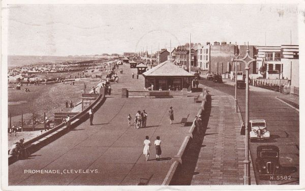 Post Card Lancashire CLEVELEYS Promenade E.C&S. Ltd. Progress Series H.5582