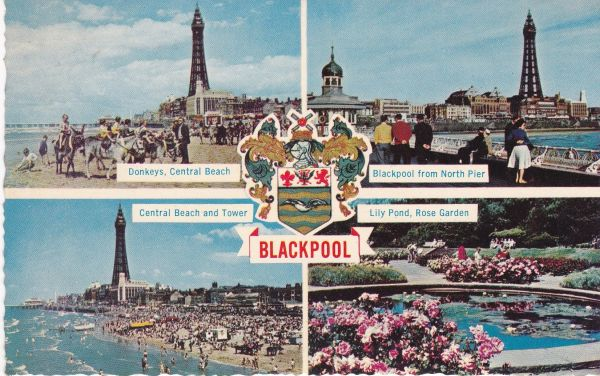 Post Card Lancashire BLACKPOOL 4 views and crest Photographic Greeting Card Co.