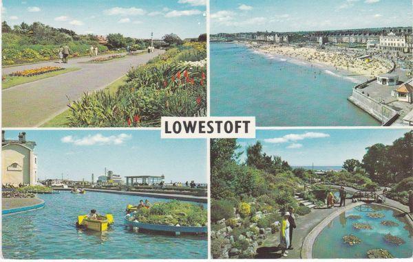 Post Card Suffolk LOWESTOFT 4 views PLC13161