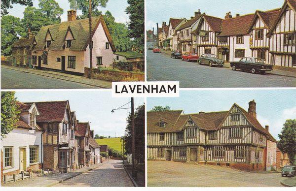 Post Card Suffolk LAVENHAM 4 views PLC13320