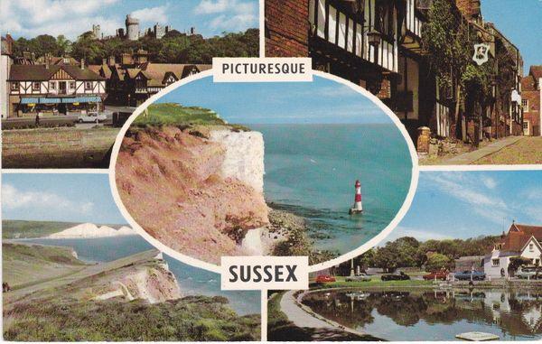 Post Card Sussex Picturesque Sussex 5 views PLC3265