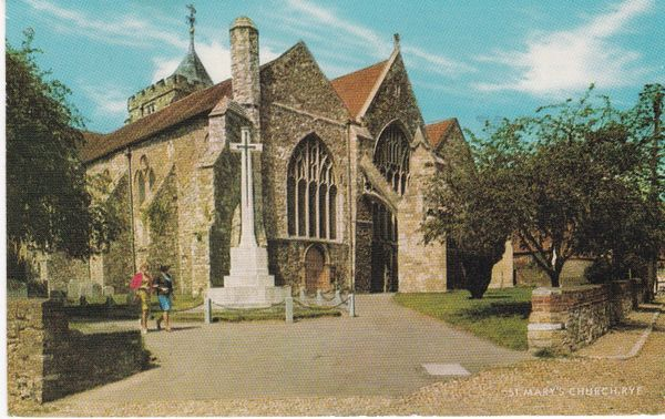 Post Card Sussex RYE St. Mary's Church Salmon Cameracolour