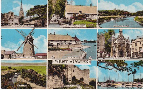 Post Card Sussex WEST SUSSEX 9 views Norman Shoesmith & Etheridge Ltd.