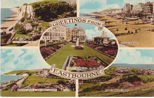 Post Card Sussex EASTBOURNE Greetings from 5 views Norman