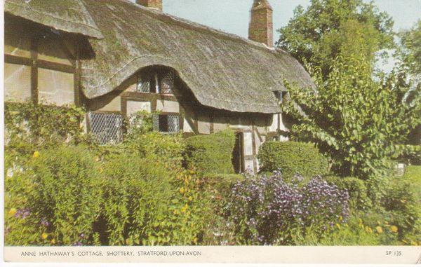 Post Card Warwickshire STRATFORD-ON-AVON Anne Hathaway's Cottage, Shottery Jarrold Cotman-Color SP 135