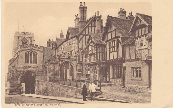 """Post Card Warwickshire WARWICK Lord Leicester's Hospital The """"Picked"""" Series No. 203."""
