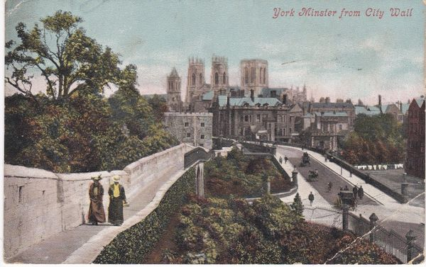 Post Card Yorkshire YORK MINSTER from City Wall Valentine's Series dated 1905