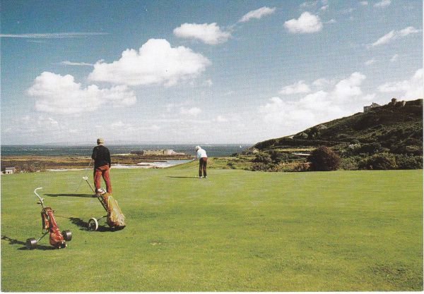Post Card Channel Islands ALDERNEY GOLF COURSE with Essex Castle in the background James Davis