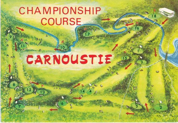 "Post Card Scotland Angus CARNOUSTIE Golf CHAMPIONSHIP COURSE A ""Hail Caledonia"" Product"