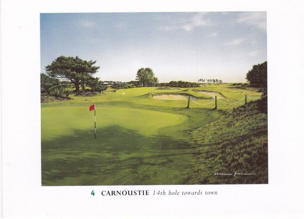 Post Card Scotland Angus CARNOUSTIE (4) 14th hole towards town
