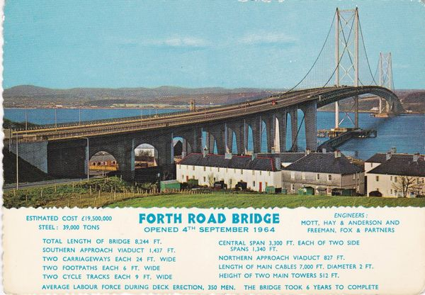 Post Card Scotland Edinburgh FORTH ROAD BRIDGE opened 4th September1964 Valentine's Scots Pictorial Series