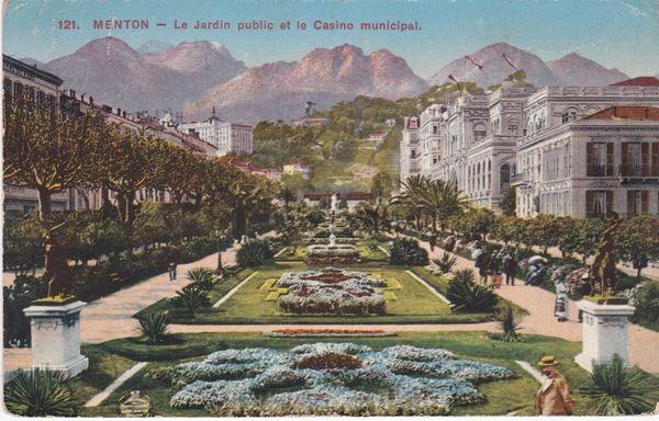 Postcard France MENTON (121) Le Jardin public et le Casino municipal 1914