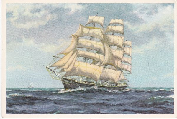 Post Card Transport Sea THE SQUARE RIGGERS (The Cutty Sark) painting by J A H Terry Royle Ref. PC. 124