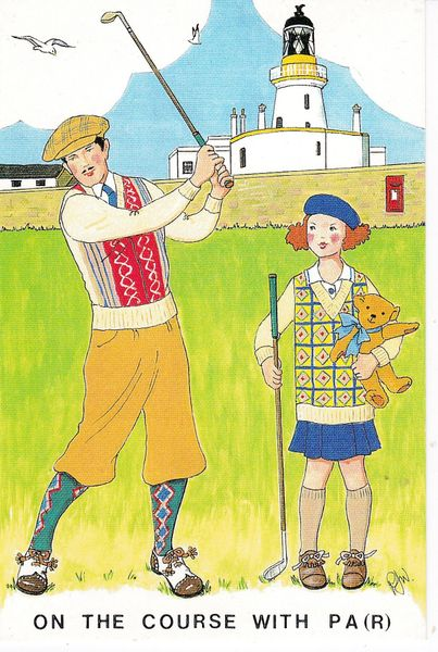 Post Card Golf / Comic ON THE COURSE WITH PA Rosalind Wicks 1998
