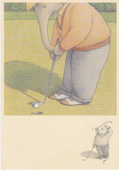Post Card ELEPHANTS NEVER FORGET THE GOLFER Santoro Graphics Ltd. 1991 EP53