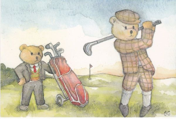 Post Card comic / golf FORE! Enterprise Teddies ET 3/90